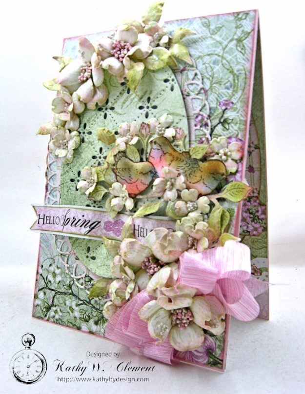 Hello Spring Flowering Dogwood Card by Kathy Clement for Heartfelt Creations Alumni Hop February 2017 Photo 1