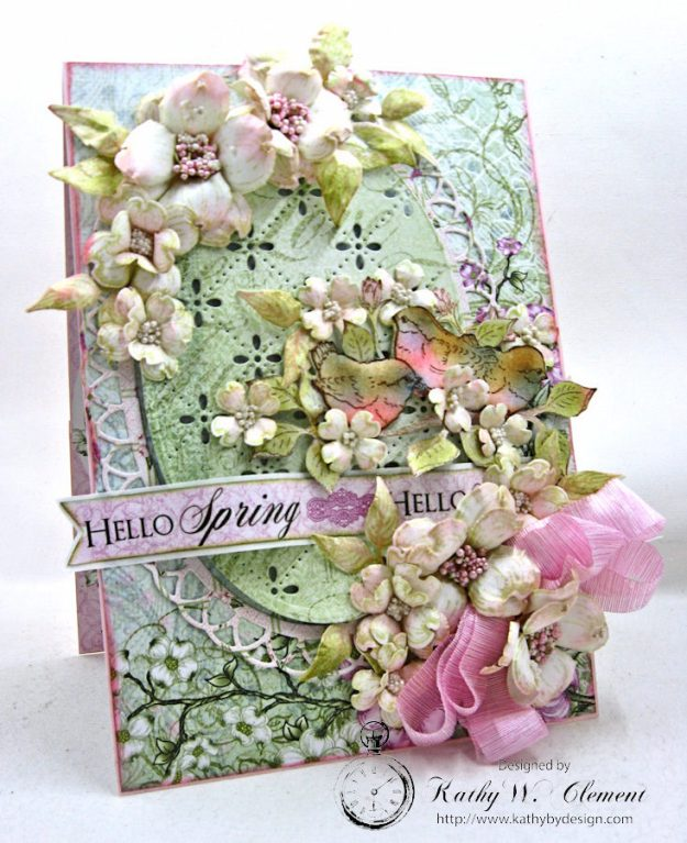 Hello Spring Flowering Dogwood Card by Kathy Clement for Heartfelt Creations Alumni Hop February 2017 Photo 2