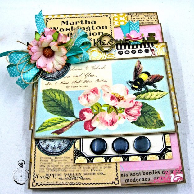 Busy Bee Greeting Card with Pockets by Kathy Clement for Really Reasonable Ribbon Photo 3