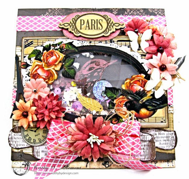 Paris Birds Shaker Easel Card By Kathy Clement for Put a Bow on it Challenge at Really Reasonable Ribbon Photo 4