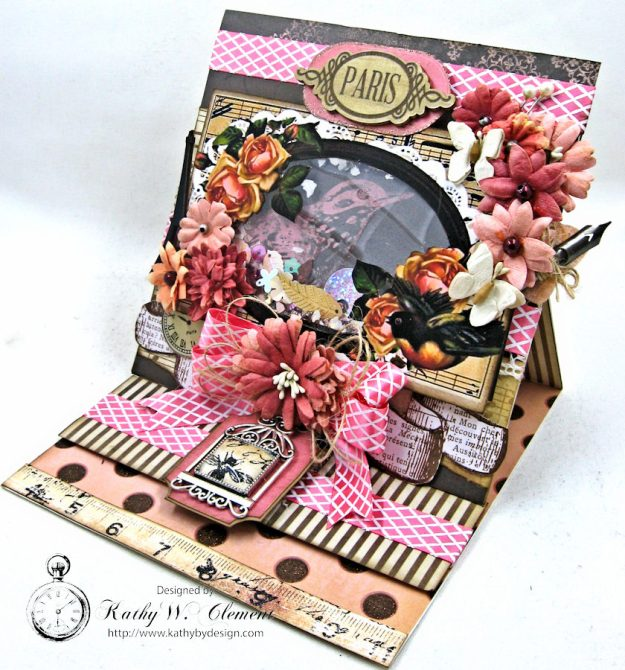 Paris Birds Shaker Easel Card By Kathy Clement for Put a Bow on it Challenge at Really Reasonable Ribbon Photo 2