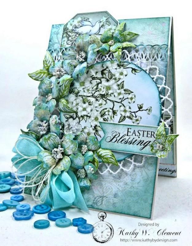 Aqua Flowering Dogwood Easter Card Tutorial by Kathy Clement for Heartfelt Creations Alumni Hop Photo 2