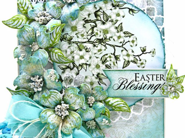 Aqua Flowering Dogwood Easter Card Tutorial by Kathy Clement for Heartfelt Creations Alumni Hop Photo 3