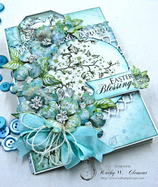 Aqua Flowering Dogwood Easter Card Tutorial by Kathy Clement for Heartfelt Creations Alumni Hop Photo 5