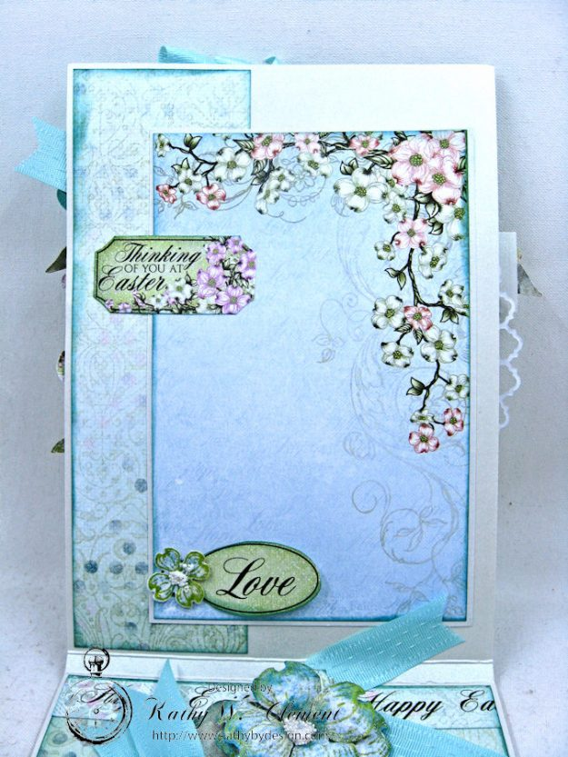Aqua Flowering Dogwood Easter Card Tutorial by Kathy Clement for Heartfelt Creations Alumni Hop Photo 7
