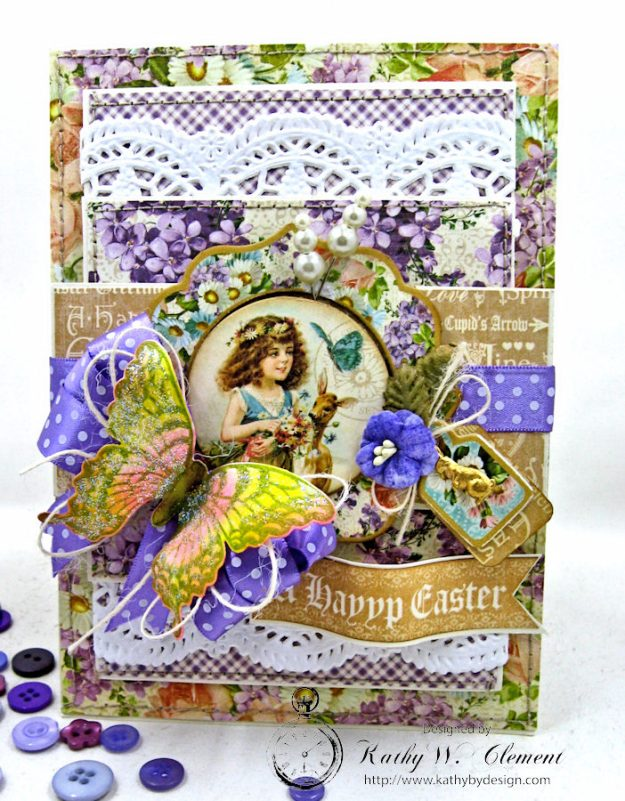 Shabby Chic Easter Greetings Card with Pockets & Tags by Kathy Clement for Really Reasonable Ribbon Photo 3