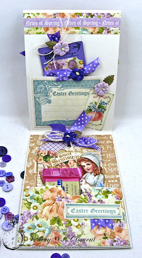 Shabby Chic Easter Greetings Card with Pockets & Tags by Kathy Clement for Really Reasonable Ribbon Photo 5