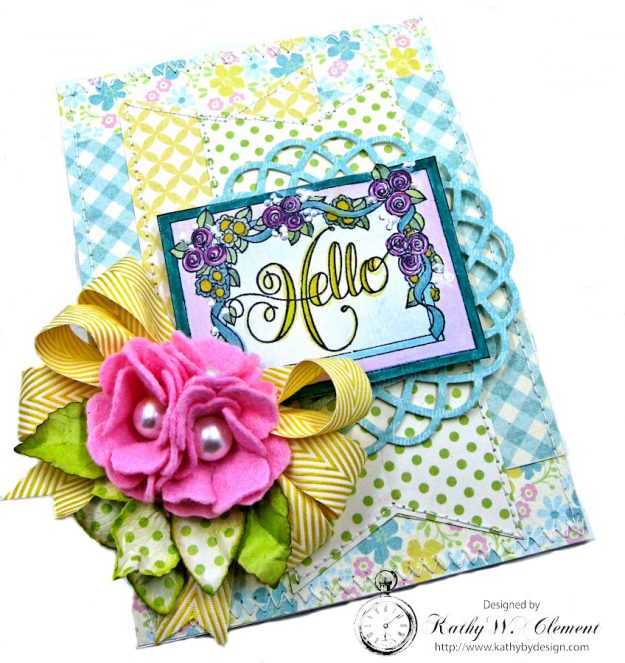 Hello Springtime Card with Felt Flowers by Kathy Clement for Tammy Tutterow Designs Photo 2