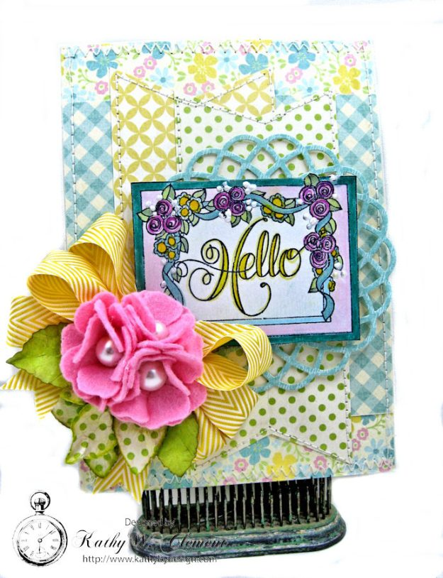 Hello Springtime Card with Felt Flowers by Kathy Clement for Tammy Tutterow Designs Photo 1