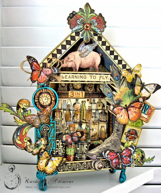 Graphic 45 Olde Curiosity Shoppe Vignette House for Frilly and Funkie Count Me In Challenge by Kathy Clement Photo 2