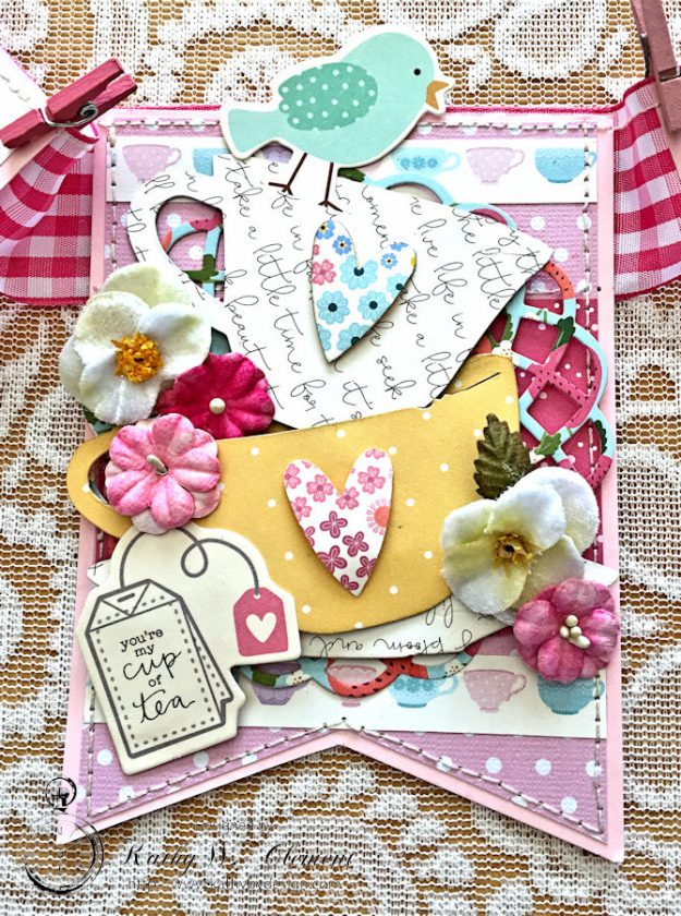 Tealightful tea party banner by Kathy Clement for Petaloo International Photo 5