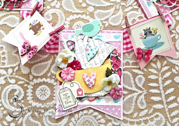 Tealightful tea party banner by Kathy Clement for Petaloo International Photo 4