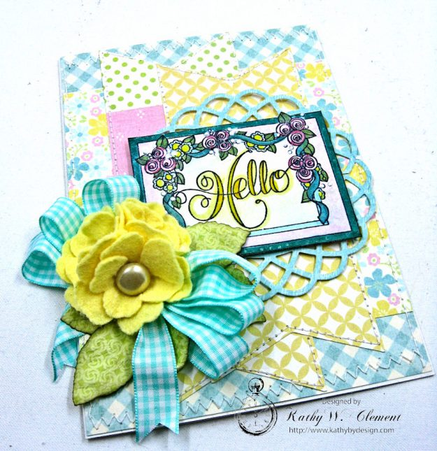 Hello Springtime Card with Felt Flowers by Kathy Clement for Tammy Tutterow Designs Photo 6