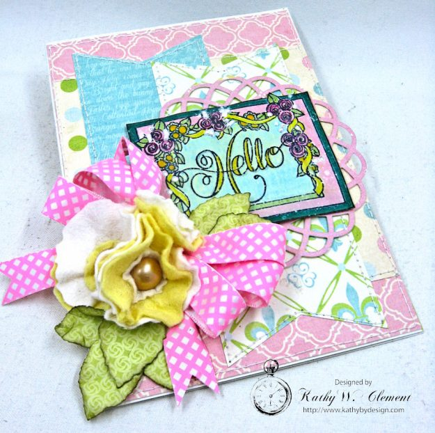 Hello Springtime Card with Felt Flowers by Kathy Clement for Tammy Tutterow Designs Photo 10