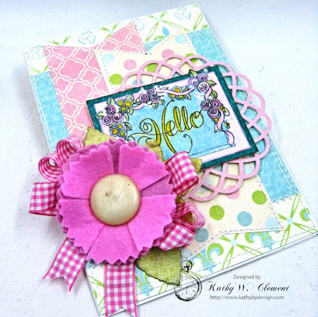 Hello Springtime Card with Felt Flowers by Kathy Clement for Tammy Tutterow Designs Photo 9