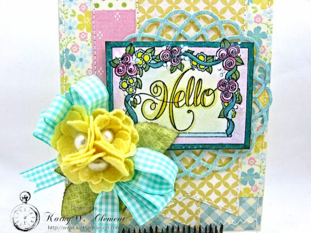Hello Springtime Card with Felt Flowers by Kathy Clement for Tammy Tutterow Designs Photo 7