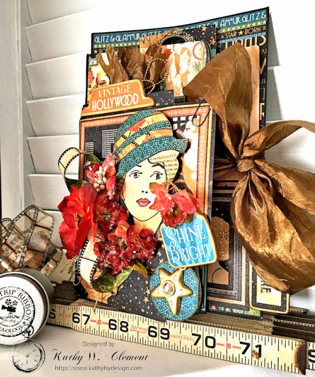 Graphic 45 Vintage Hollywood Four Fold Folio Tutorial by Kathy Clement for Frilly and Funkie Photo 3
