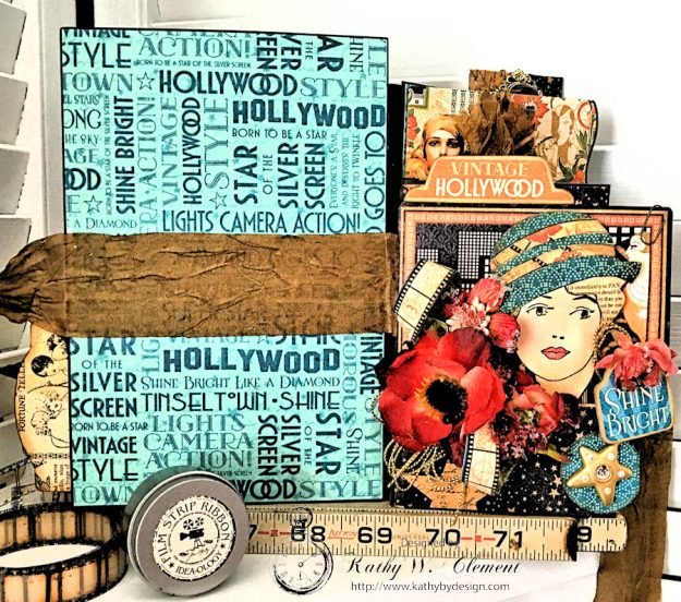 Graphic 45 Vintage Hollywood Four Fold Folio Tutorial by Kathy Clement for Frilly and Funkie Photo 15