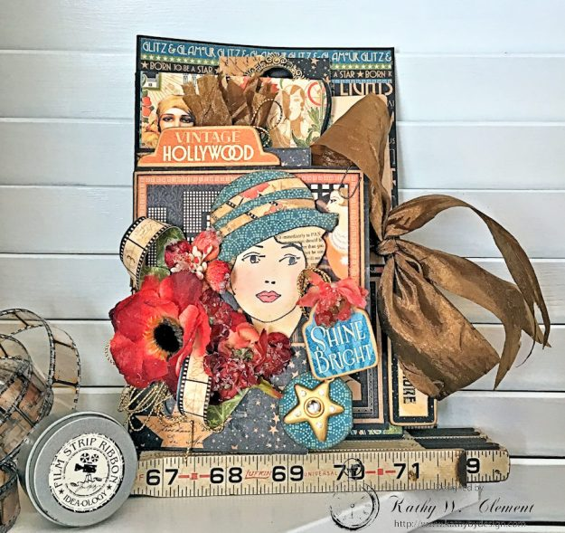 Graphic 45 Vintage Hollywood Four Fold Folio Tutorial by Kathy Clement for Frilly and Funkie Photo 1