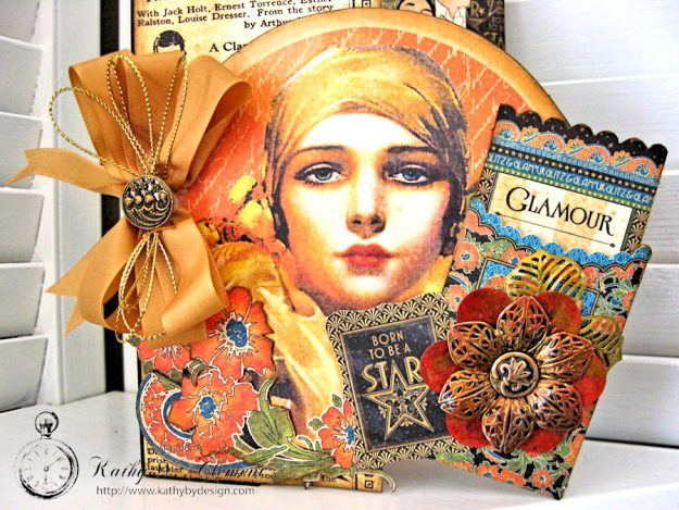 Vintage Hollywood Cutaway Card by Kathy Clement made for The Funkie Junkie Boutique Friday Focus on Graphic 45