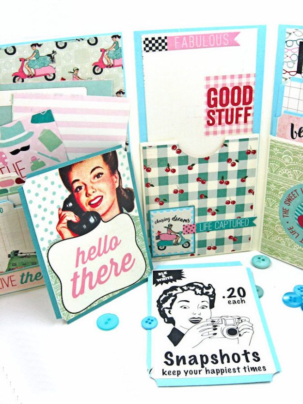 Be YOU Tiful Authentique Fabulous Retro Style Folio Tutorial by Kathy Clement Photo 9