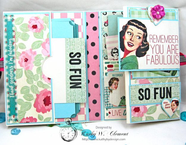 Be YOU Tiful Authentique Fabulous Retro Style Folio Tutorial by Kathy Clement Photo 4