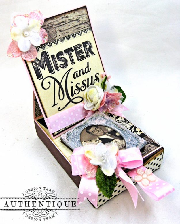 Mister and Missus Easel Style Gift Box Always by Kathy Clement Product by Authentique Photo 2
