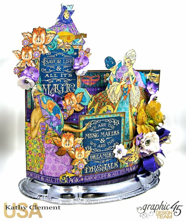 Magical Midnight Masquerade Bendi Card Centerpiece Midnight Masquerade by Kathy Clement Product by Graphic 45 Photo  9