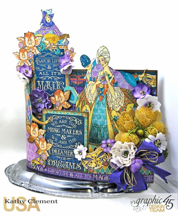 Magical Midnight Masquerade Bendi Card Centerpiece Midnight Masquerade by Kathy Clement Product by Graphic 45 Photo  5