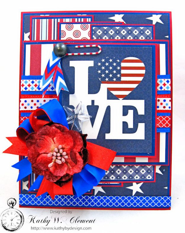 God Bless America Card United by Kathy Clement for Really Reasonable Ribbon Product by Authentique Photo 1