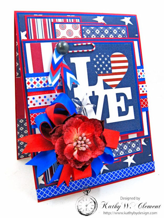 God Bless America Card United by Kathy Clement for Really Reasonable Ribbon Product by Authentique Photo 3