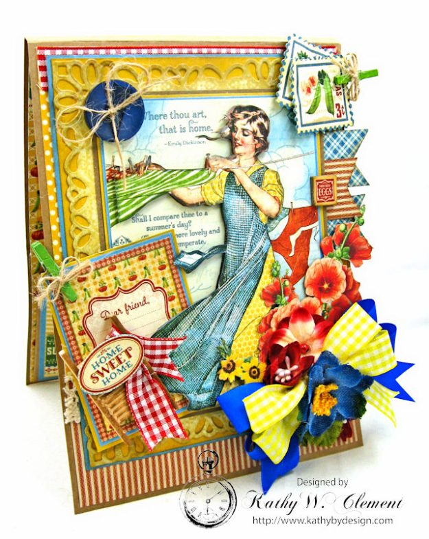 Laundry Day Card Home Sweet Home by Kathy Clement for Really Reasonable Ribbon Product by Graphic 45 Photo 4
