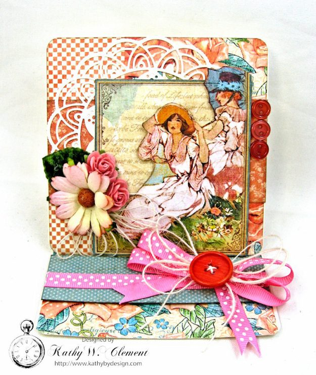 Beautiful Mother's Day Wishes  Easel Card Cafe Parisian by Kathy Clement for Really Reasonable Ribbon Product by Graphic 45 Photo 2