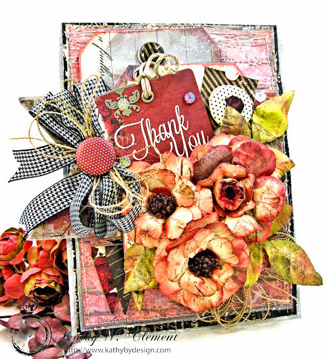 Shabby Posies Thank You Card by Kathy Clement for Tammy Tutterow Designs Photo 1