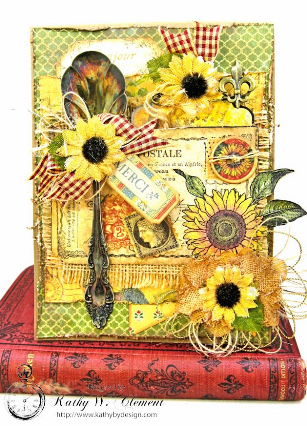 Spoonful of Gratitude Card French Country by Kathy Clement for Frilly and Funkie Something Old Challenge Product by Graphic 45 Photo 2