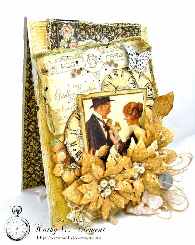 Adore Shabby Chic Wedding Card A Ladies Diary DCE by Kathy Clement for Frilly and Funkie Product by Graphic 45 Photo 2