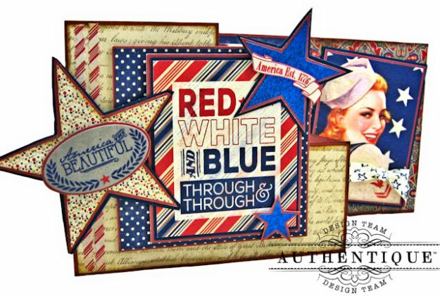 Red White and Blue Through and Through Step Out Card Heroic by Kathy Clement Product by Authentique Photo 3