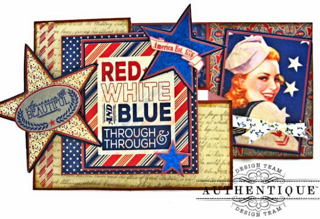 Red White and Blue Through and Through Step Out Card Heroic by Kathy Clement Product by Authentique Photo 2