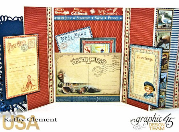 Bathing Beauties Double Gatefold Card Tutorial Place in Time by Kathy Clement Product by Graphic 45 Photo 4