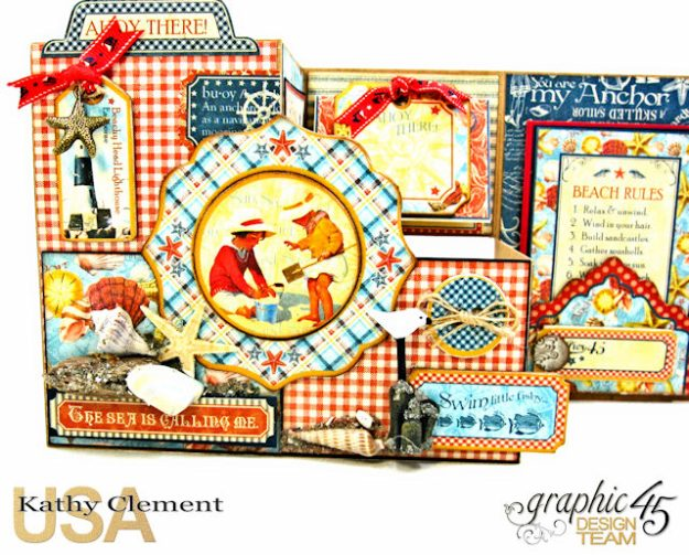 By the Sea Step Out Card Tutorial By the Sea by Kathy Clement Product by Graphic 45 Photo 5