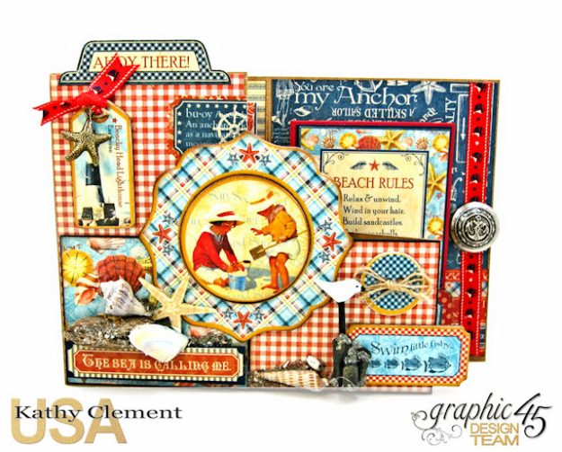By the Sea Step Out Card Tutorial By the Sea by Kathy Clement Product by Graphic 45 Photo 2