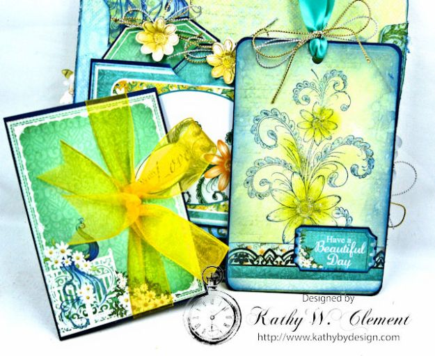 Peacock Paisley Altered Envelope Tutorial by Kathy Clement Product by Heartfelt Creations Photo 7