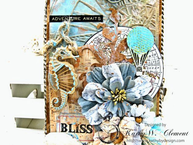 Seaside Summer Mixed Media Tag by Kathy Clement for Frilly and Funkie In the Good Old Summertime Challenge Photo 2
