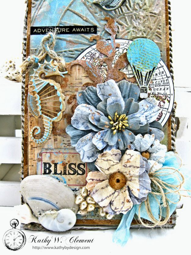 Seaside Summer Mixed Media Tag by Kathy Clement for Frilly and Funkie In the Good Old Summertime Challenge Photo 3