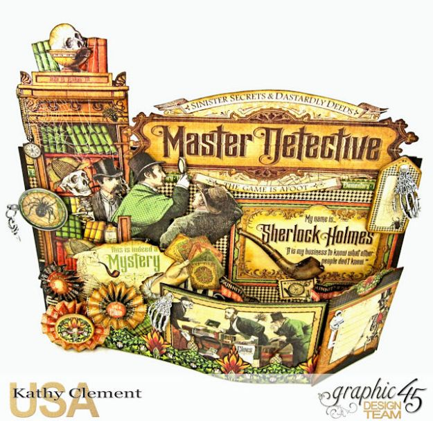 #G45Gentleman Challenge Master Detective Bendi Card Master Detective by Kathy Clement Product by Graphic 45 Photo 3