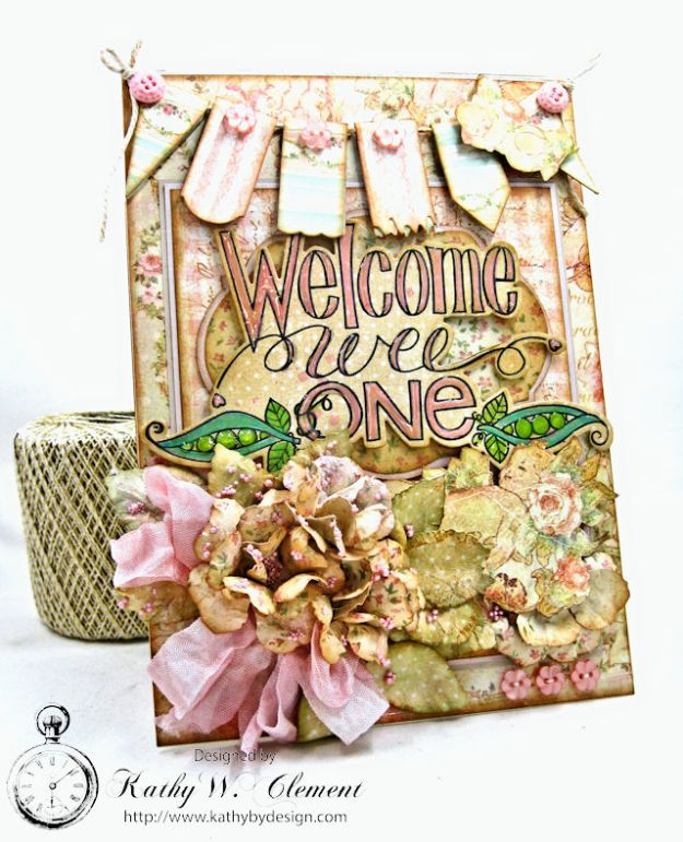 Welcome Wee One Baby Girl Folio by Kathy Clement Product by Tammy Tutterow Designs Photo 1