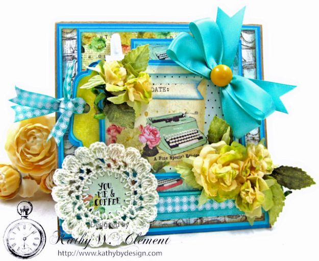 You,  Me & Coffee Hidden Tag All Occasion Card for Really Reasonable Ribbon by Kathy Clement Photo 1