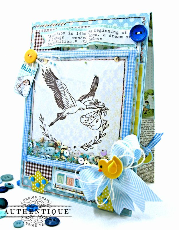 Authentique Beginnings Baby Boy Shaker Card Tutorial by Kathy Clement Photo 2