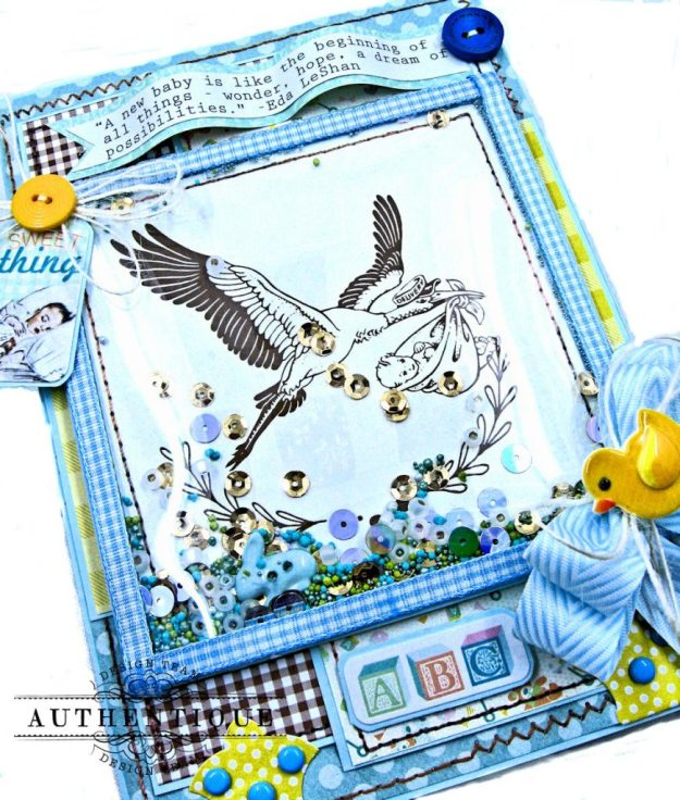 Authentique Beginnings Baby Boy Shaker Card Tutorial by Kathy Clement Photo 3