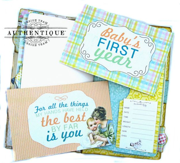 Beginnings Baby Book Beginnings by Kathy Clement Product by Authentique Paper Photo 10